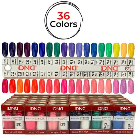 DND Duo Soak Off Gel Matching Nail Lacquer (36 Colors/Set) - [From #711 to #746] –  DND Set #9