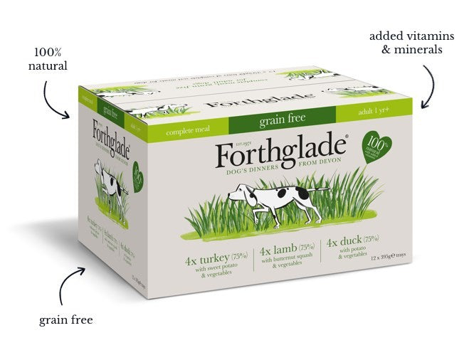 Forthglade complete meal grain free  turkey, duck & lamb natural wet dog food - variety pack (12x395g)