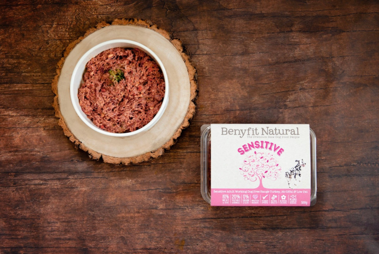 Benyfit Natural Sensitive Complete Adult Raw Working Dog Food - Turkey