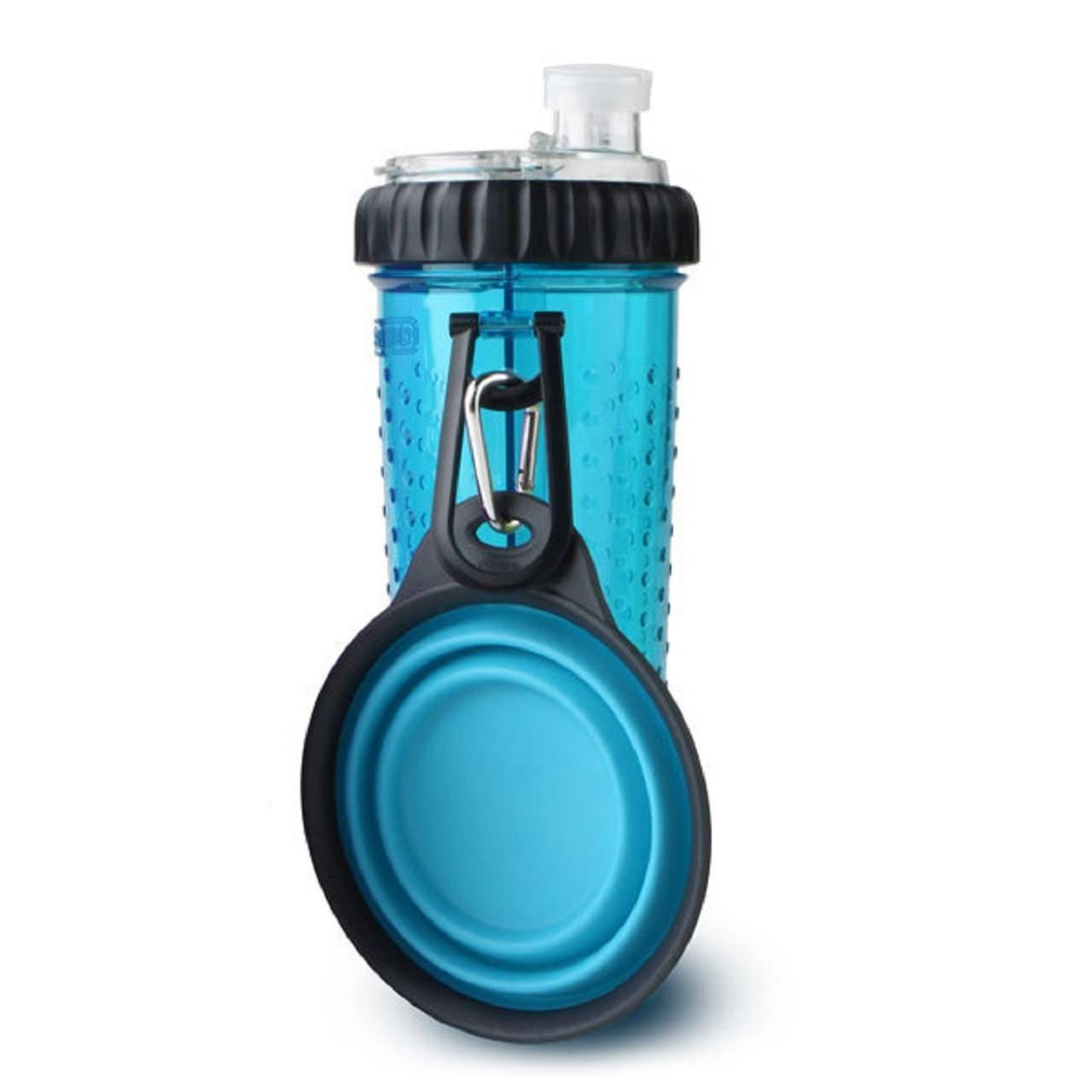 Dexas Popware Snack-Duo Dog Water Bottle with Travel Cup