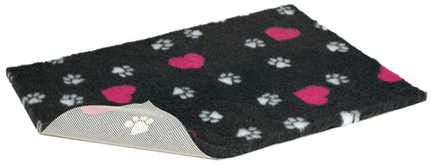 Vetbed - Charcoal Non Slip Cerise Hearts & White Paws Dog Bed