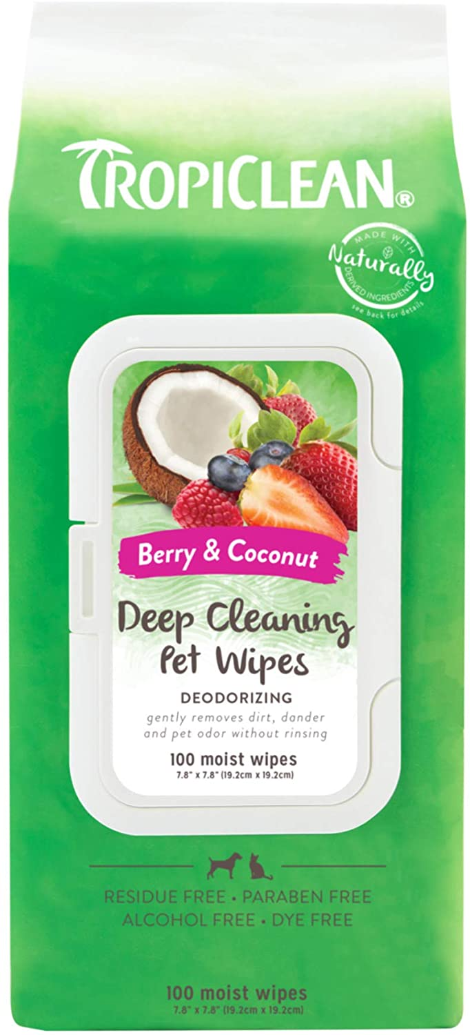 Tropiclean Deep Cleaning Wipes for Pets, 100ct
