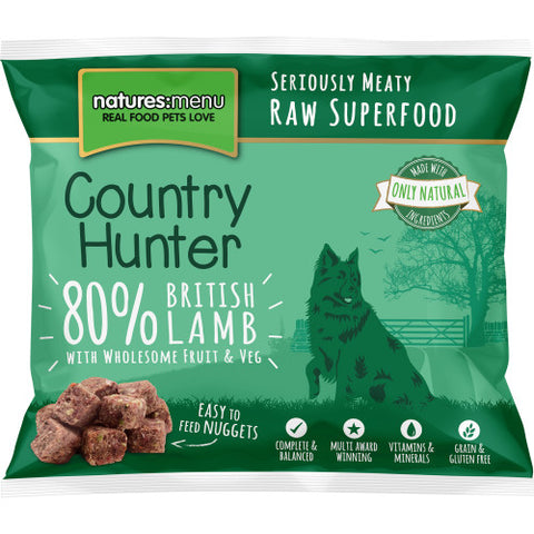 Natures Menu Country Hunter Lamb, Fruit & Vegetables Raw Dog Nuggets 1KG