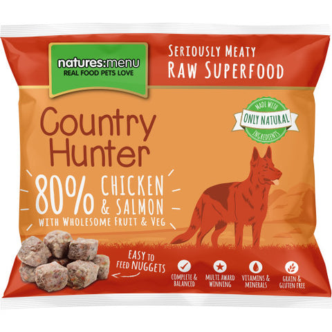Natures Menu Country Hunter Chicken & Salmon Frozen Raw Dog Nuggets 1KG