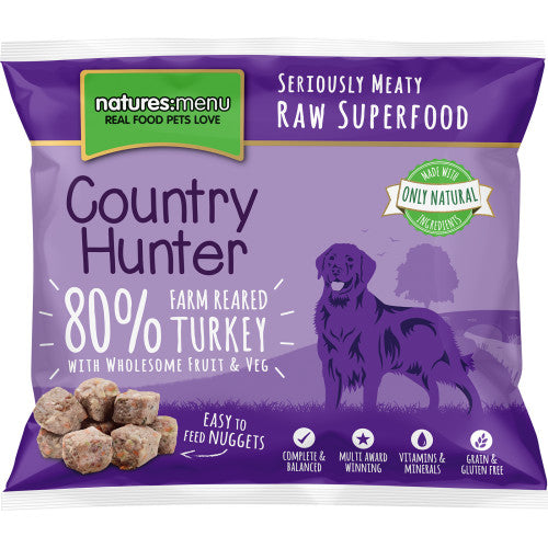 Natures Menu Country Hunter Turkey, Fruit & Vegetables Frozen Raw Dog Nuggets 1KG