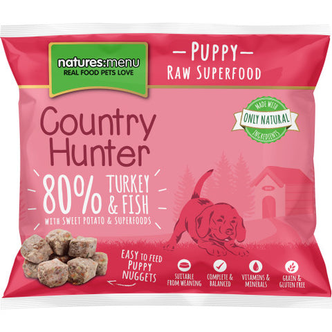 Natures Menu Country Hunter Turkey & White Fish Bait Frozen Raw Puppy Nuggets 1KG