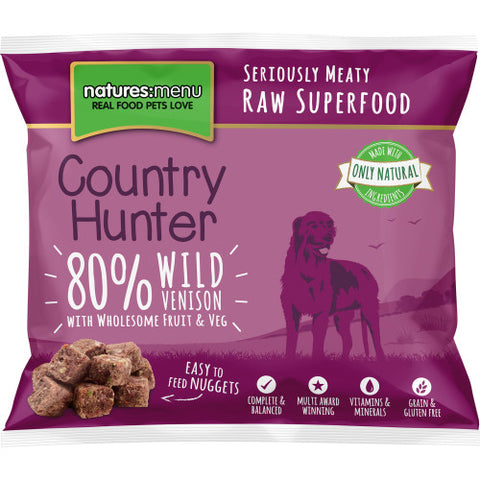 Natures Menu Country Hunter Venison, Fruit & Vegetables Frozen Raw Dog Nuggets 1KG