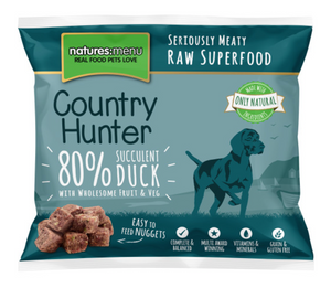 Natures Menu Country Hunter Duck, Fruit & Vegetables Frozen Raw Dog Nuggets 1KG