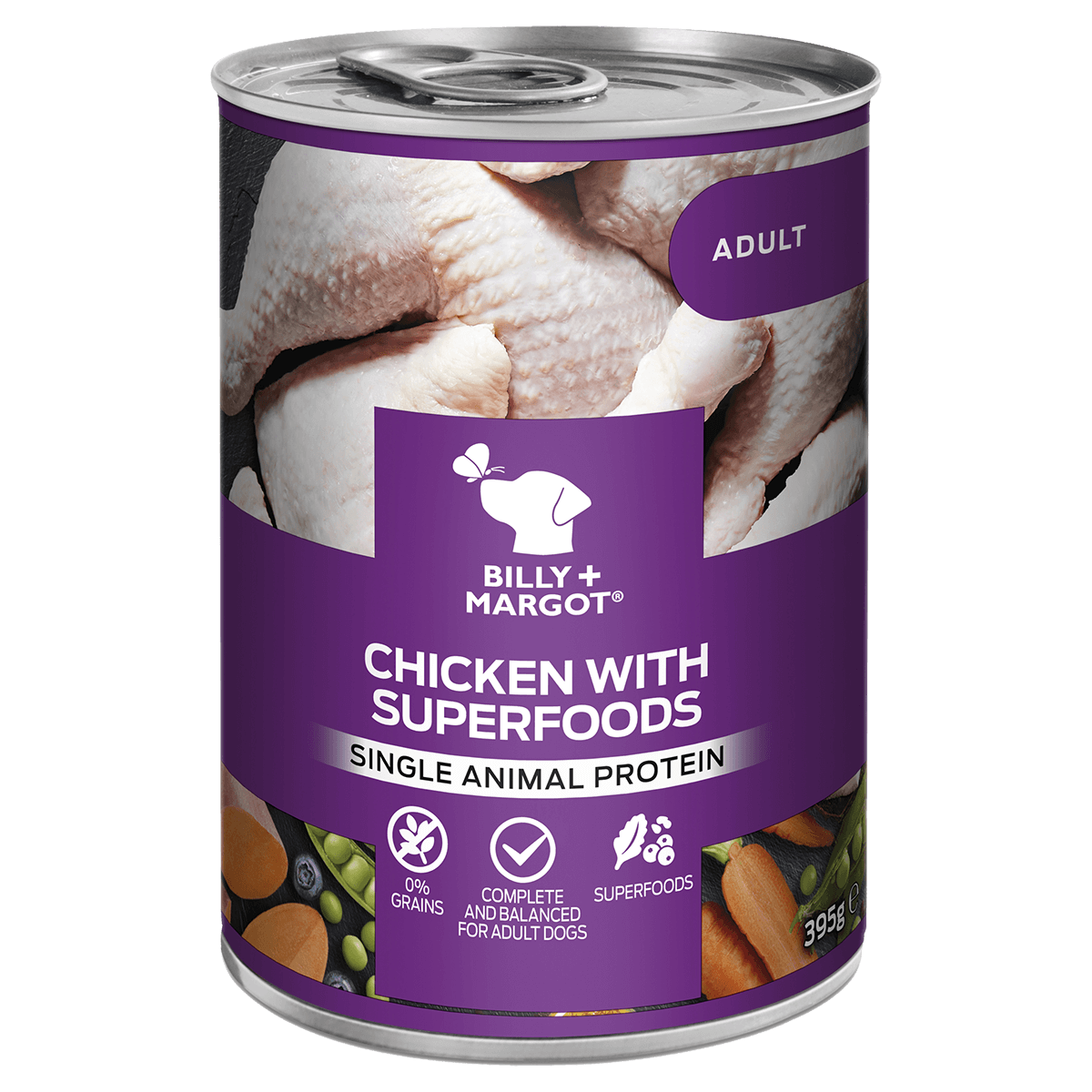 Billy & Margot - Chicken & Superfoods Wet Dog Food 395g Tins