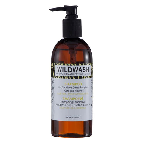 WildWash PRO Shampoo for Sensitive Coats, Puppies and Kittens 300ml - Aloe Vera and Primrose Oil