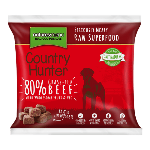 Natures Menu Country Hunter Grass Fed Beef Frozen Raw Dog Nuggets 1KG