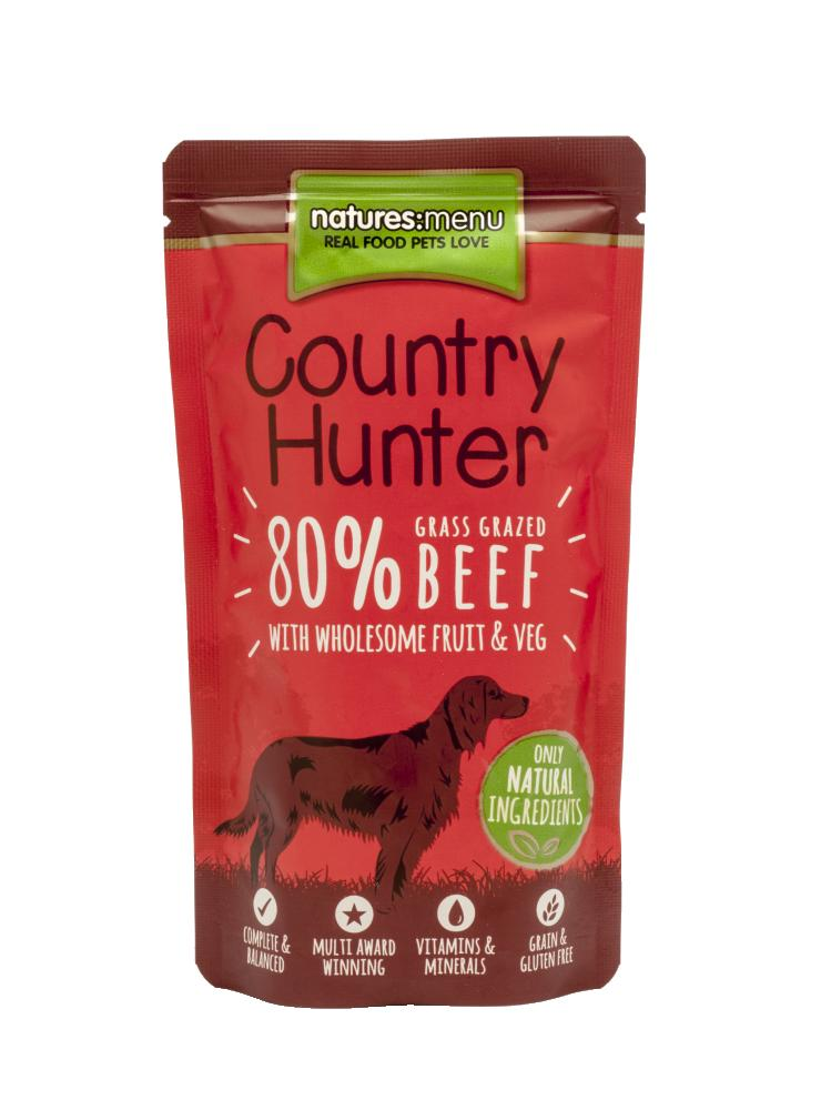 Natures Menu Country Hunter Grass Grazed Beef Dog Pouch 150g