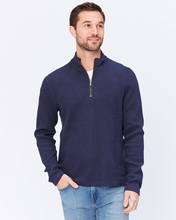 Wave Train Flat Back Seersucker 1/4 Zip Mock