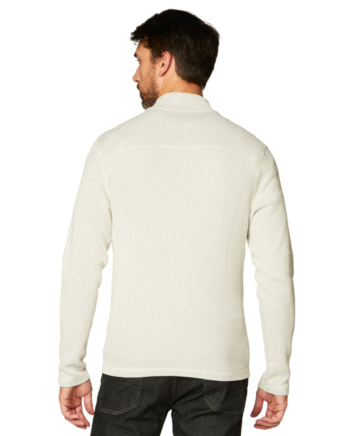 White Caps Flat Back Seersucker Full Zip Mock