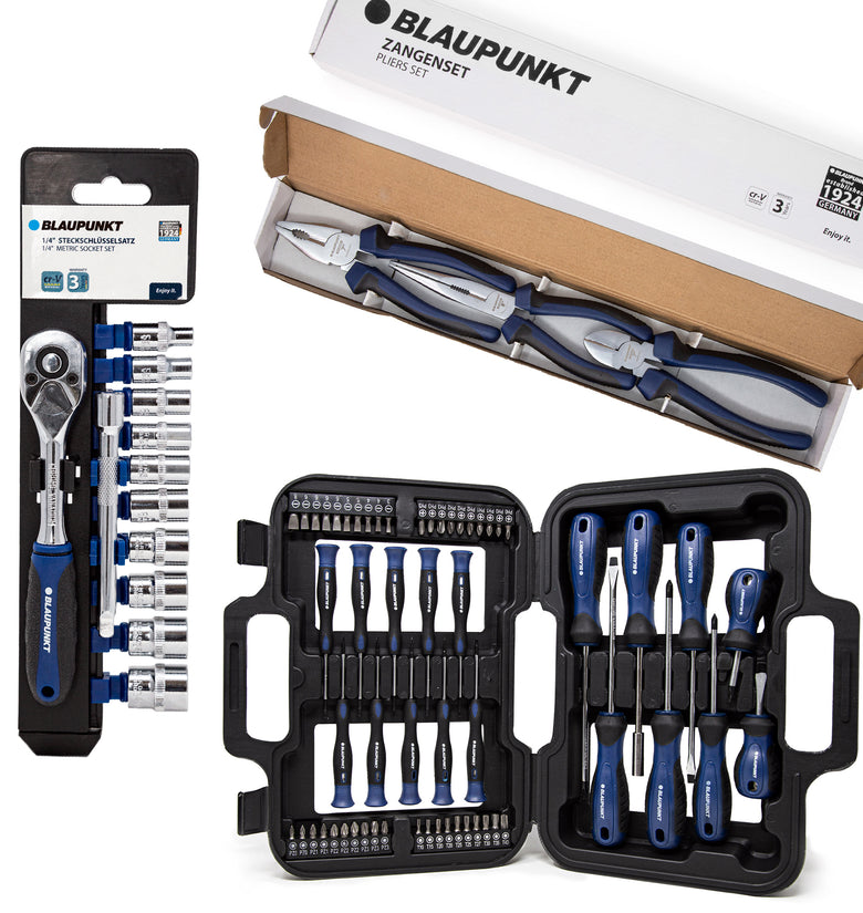 KIT Ferramentas Auto Blaupunkt - Chaves de Roquete (BP40310) + Conjunto Chaves de Fenda (BP58SD) + Conjunto de Alicates (BP10608)