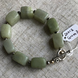 Green Agate Bracelet with Silver