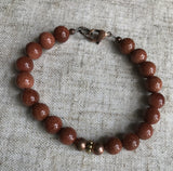 Red Goldstone (manmade) Bracelet with Copper