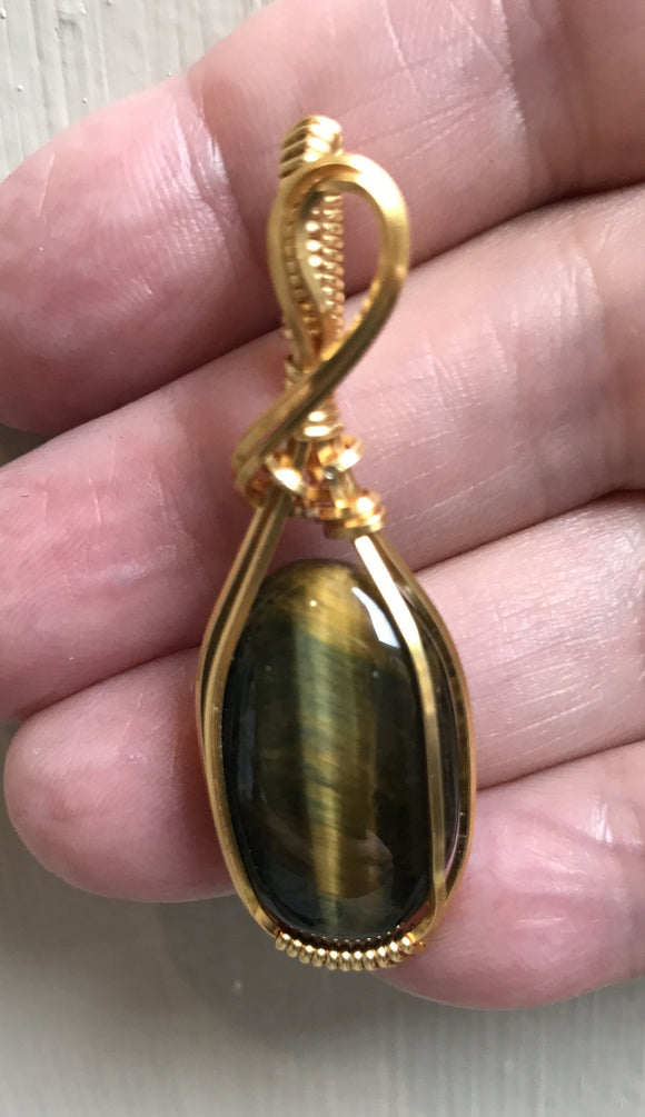 Hawks Eye Pendant in Gold