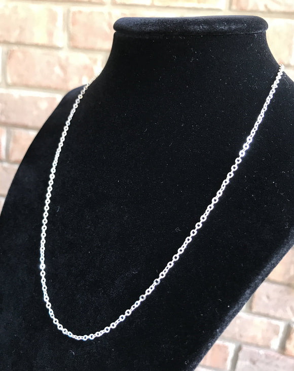 Silver Plated Brass Chain Necklace - 2mm