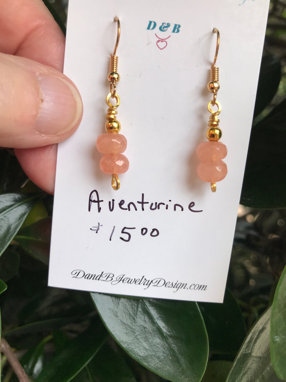 Aventurine Earrings in Gold