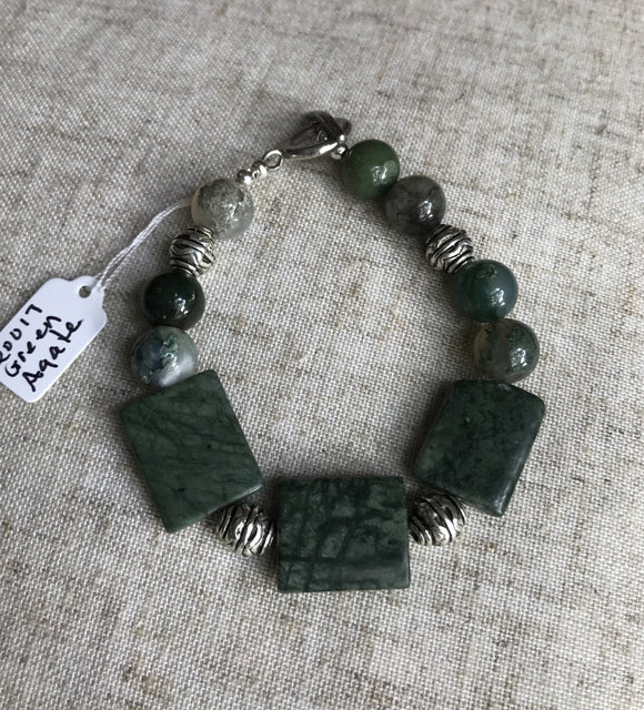 Green Agate and Silver Accent Bracelet