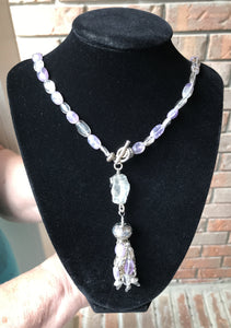Amethyst and Quartz Necklace with Silver