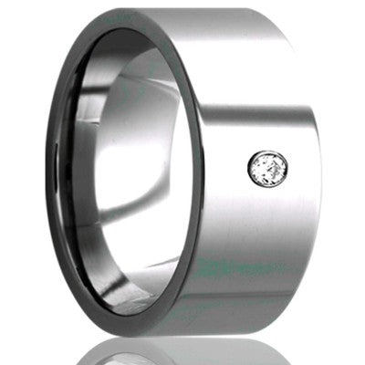 Flat Cobalt band, all high polish, .06 G-H color SI1 Wedding Band-C101D1