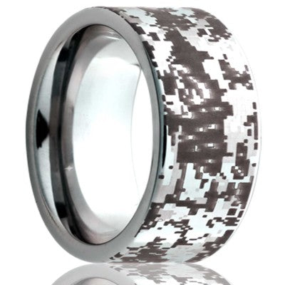 Flat Cobalt band, all high polish with camouflage laser pattern Wedding Band-C101-F