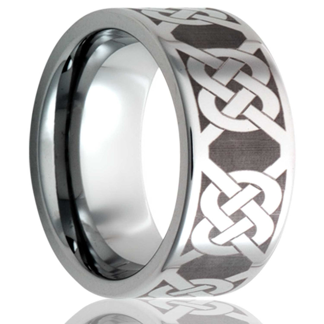 Flat Cobalt band, all high polish with Celtic knot laser pattern Wedding Band-C101-H