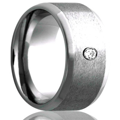 Beveled edge Cobalt band, all high polish bevel with a satin finish center, .06 G-H color SI1 Wedding Band-C107D1