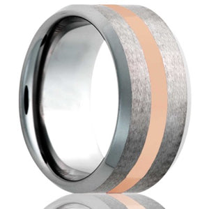 Beveled edge Cobalt band, all high polish bevel with a satin finish center and 2mm 14k rose gold inlay Wedding Band-C107R