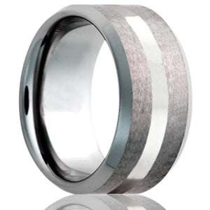 Beveled edge Cobalt band, all high polish bevel with a satin finish center and 2mm Argentium silver inlay Wedding Band-C107SS