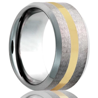 Beveled edge Cobalt band, all high polish bevel with a satin finish center and 2mm 14k yellow gold inlay Wedding Band-C107Y