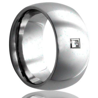Dome Cobalt band, all high polish. 2mm stone G-H color SI1.  Wedding Band-C111DSQ1