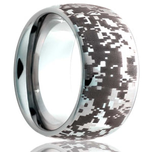 Dome Tungsten band, all high polish with laser pattern