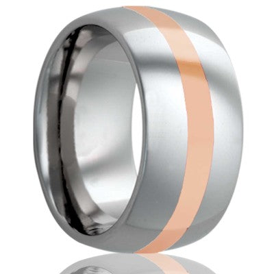 Dome Cobalt band, all high polish with a 2mm 14k rose gold inlay Wedding Band-C111R
