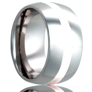 Dome Cobalt band, all high polish with a 2mm argentium silver inlay Wedding Band-C111SS