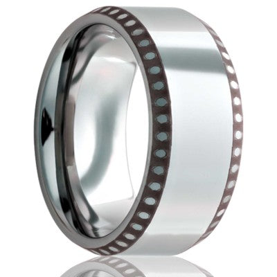 Beveled edge Cobalt band, all high polish with a laser pattern on the bevel Wedding Band-C125-A