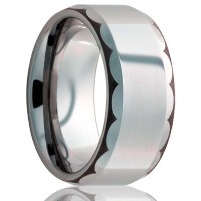 Beveled edge Cobalt band, all high polish with a laser pattern on the bevel Wedding Band-C125-C