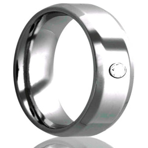 Beveled edge Cobalt band, all high polish .06 G-H color SI1.  Wedding Band-C125D1