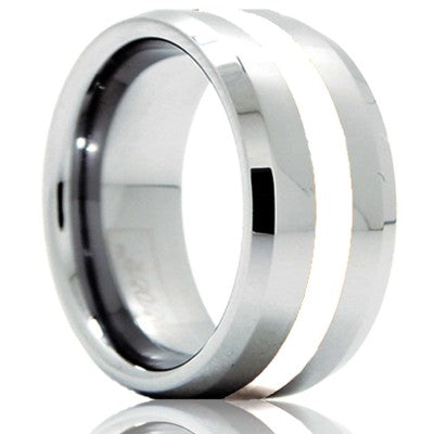 Beveled edge Cobalt band, all high polish with a 2mm argentium silver inlay Wedding Band-C125SS