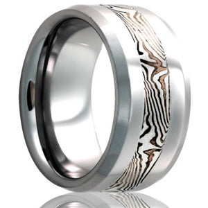 Beveled edge Tungsten Wedding Band-TU125SS/SH