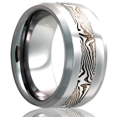 Beveled edge Cobalt band, all high polish with a 3mm mokume gane inlay of sterling silver and shakudo Wedding Band-C125SS/SH