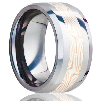 Beveled edge Cobalt band, all high polish with a 3mm mokume gane inlay of 14k white gold, 14k rose gold, and sterling silver Wedding Band-C125W/R/SS