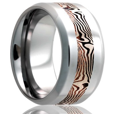 Beveled edge Cobalt band, all high polish with a 3mm mokume gane inlay of 14k white gold and shakudo Wedding Band-C125W/SH