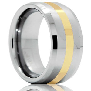 Beveled edge Cobalt band, all high polish with a 2mm 14k yellow gold inlay Wedding Band-C125Y