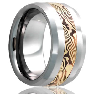 Beveled edge Cobalt band, all high polish with a 3mm mokume gane inlay of 14k yellow gold and shakudo Wedding Band-C125Y/SH