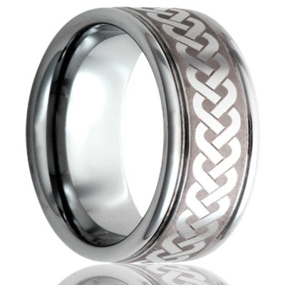 Deep groove Tungsten band, all high polish with laser pattern