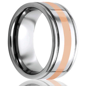 Deep grooved Tungsten Wedding Band-TU127R