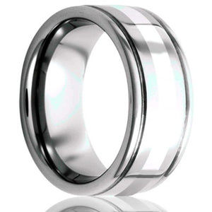 Deep grooved Tungsten Wedding Band-TU127SS